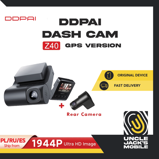 Picture of DDPAI Dash Cam Z40 (GPS Version) - 1944P Ultra High Resolution - Dual Perspective (Front & Rear) Camera - 1 Year Warranty